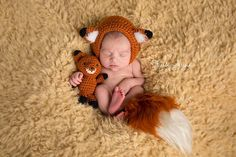 Newborn fox prop set.  Fox hat, tail and stuffie.  Newborn Photography Props Woodland Animal Prop