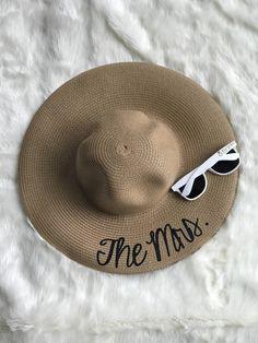 Floppy hat and sunglasses, summer outdoors, monogram hat, sun kissed hat, Summer Party Hat, honeymoon hat, beach hat, bachelorette gift