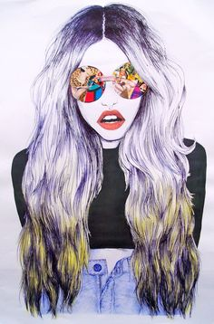 Cool illustration love the colour in her glasses  x
