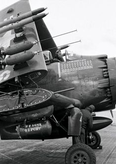 Closeup of an AD-2 Skyraider, 1952.