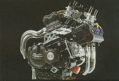 Honda NR750 - [This liquid-cooled V4 motor uses oval pistons, no less than eight valves per cylinder and features a highly sophisticated fuel-injection system. A 32-valve fuel-injected V4 750 is an astonishing feat of engineering, and one which allows Honda to produce a lot of power from a relatively small package.]
