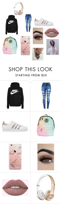 """""""Going to school"""" by rebel-constance on Polyvore featuring NIKE, WithChic and adidas Originals"""