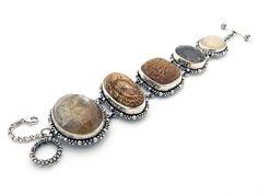 Stephen Dweck Sterling Silver 5 Stone Agate Topaz Quartz Jasper Toggle Bracelet #StephenDweck #Chain  US $999.00