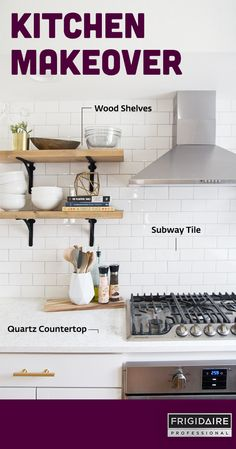 See the before and after photos of how @jenloveskev totally transformed her kitchen into a modern space by removing some dated materials. Her renovation & DIY projects included: open wood shelves, subway tile backsplash, quartz countertops and a kitchen island with a butcher block top.