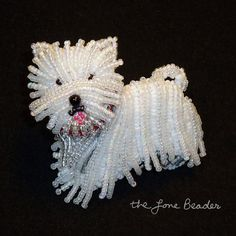 New #WESTIE #beaded West Highland White Terrier dog pin by thelonebeader, $125.00