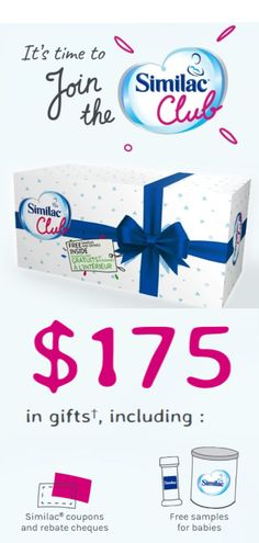 Free Similac Gift Pack including Similac coupons, rebate cheques, and various free samples #newmom #new #baby #canada