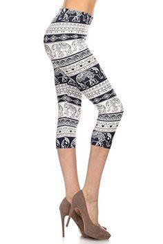 d837ff74095 Leggings Depot Women s Butterknit Capri Cropped Printed Leggings Tights  Set1 (All About Legs)