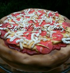 Pepperoni Pizza Cake by Jillian @ Saint Louis Cakes. Pizza Cake, Pepperoni, Hot Dogs, Birthday Cake, Cakes, Ethnic Recipes, Desserts, Food, Tailgate Desserts