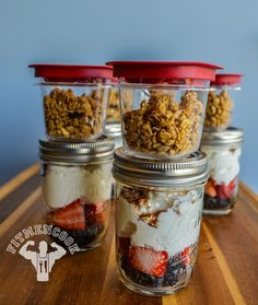Granola, Strawberry, Blackberry, Cinnamon Parfait