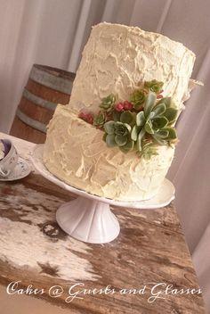 Rustic Lemon Wedding cake decorated with fresh succulents. Contact Carina Sephton 0823005301 Lydenburg, Dullstroom & Burgersfort