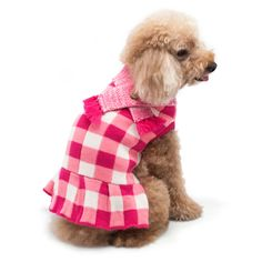 This pink checker designed sweater dog dress with short skirt and a  detailed mix-knit scarf is just the look your doggy needs. dcc844bbb2f0