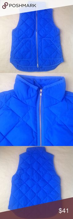 Bright blue J. Crew Factory puffer vest A bright blue J. Crew Factory puffer vest. Worn twice and I realized I love this color, but I have too many vests to wear this enough. No rips, stains, or tears! J.Crew Factory Jackets & Coats Vests