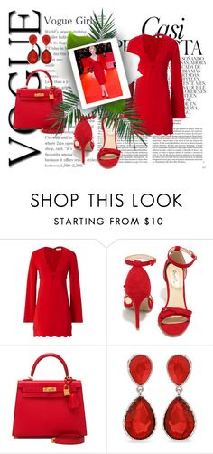 """""""Red"""" by sonyastyle ❤ liked on Polyvore featuring Whiteley, A.L.C., Qupid, Hermès, Erica Lyons and Nika"""