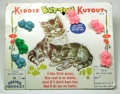 "ButtonArtMuseum.com -  Vintage Card OF 6 Kitty CAT Buttons Very Nice Graphics ""Kiddie Kutout"" 1930s"
