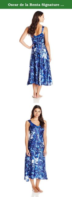 Oscar de la Renta Signature Women's Printed Long Gown, Midnight Vines, Medium. Glamorous and chic, our Carmeuse long gown in a beautiful tonal blue printed floral is irresistible in every way.