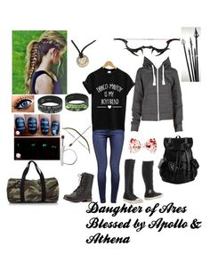 Daughter of Ares;Blessed by Apollo & Athena Bad Girl Outfits, Teen Fashion Outfits, Teenager Outfits, Percy Jackson Cabins, Percy Jackson Fan Art, Fandom Outfits, 5sos Outfits, Cute Outfits, Percy Jackson Outfits