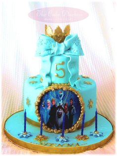 Frozen Cake in Blue and Gold - Cake by Sumaiya Omar - The Cake Duchess SA