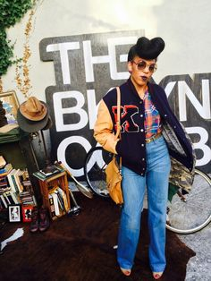 fashion, street style inspiration, black womens inspiration, afro hairstyle, retro style, black girls, denim outfit