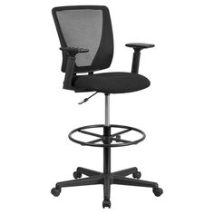 Flash Furniture Ergonomic Mid-Back Mesh Drafting Chair with Fabric Seat Adjustable Foot Ring and Arms - GO-2100-A-GG