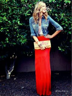 Amazing Red Maxi Skirt with Jeans Jacket, Clutch Bag and Accessories