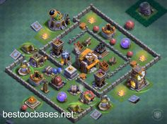 Best base - Builder Hall 5 base layouts - Find the best bases to gain cups! Anti 1 star bases for best defense! It`s time to smash - Town Hall 4, Clas Of Clan, Best Defense, Layouts, Base, Cups, Star, Wallpapers, Mugs