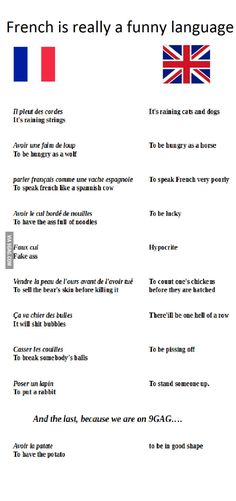 French is a funny language                              …