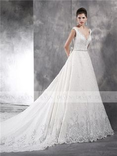 Sleeves V-Neckline Embroidery Ball Gown With Monarch Train Embroidery