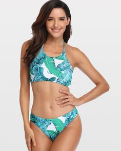 65ea370d9fb60 Green Leaf Bikini Set  bikini swimsuit bikini set high waisted  woman