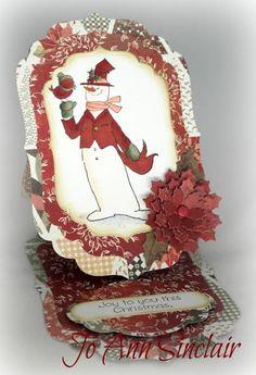 Art Impressions Joyful Christmas Set (Sku#4314) Snowman easel card.