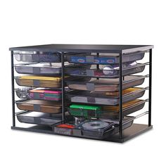 Description Stackable twelve compartment organizer with removable mesh drawers provides an ideal way to organize any area of your business or home while expanding your storage capability. Each drawer