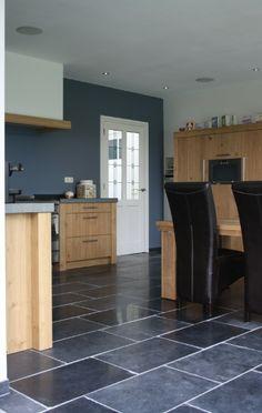 Harappa Stone Black v. Blue Kitchen Tiles, Blue Tiles, Belgian Blue, Kitchen Flooring, Stone Art, Blue And White, Black, Paint Colors, Floors