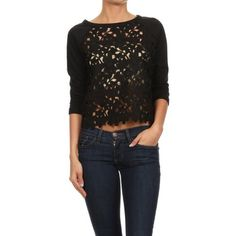 Crocheted Crop Top NEW, crochet lace top with 3/4 length sleeves, 65% cotton, 35% polyester. Tops Crop Tops