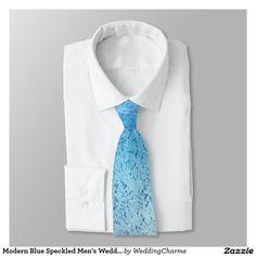 Modern Blue Speckled Men's Wedding Tie