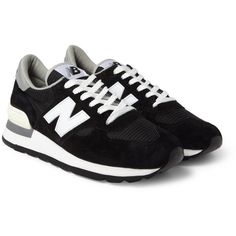 New Balance 990 Nubuck and Mesh Sneakers (€81) found on Polyvore featuring men's fashion, men's shoes, men's sneakers, shoes, sneakers, black, mens nubuck shoes, new balance mens shoes, mens black sneakers and mens lace up shoes