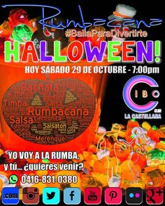Yo voy a la #Rumba #Halloween esta noche en @cibo_club desde las 7pm y tú... quieres venir? En puerta entrada en Bs. 1500 Escríbenos al whatsapp 58 416 831 0380 #Rumbacana #BailaParaDivertirte
