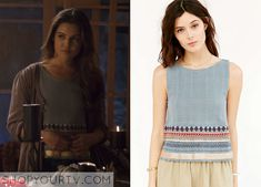 Davina Claire (Danielle Campbell) wears this embroidered border tank top in this week's episode of The Originals. It is the Ecote Embroidered Border Apron Tank. Buy it HERE for $69