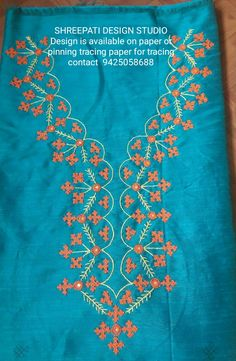 Embroidery On Kurtis, Embroidery Neck Designs, Embroidery Patterns, Kutch Work Designs, Sweet Dress, Embroidered Blouse, Blouse Designs, Blouses, Fashion Outfits