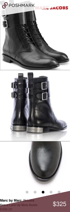 """NIB 💙MARC JACOBS💙""""Grove"""" Combat Leather Boots NIB 💙MARC by MARC JACOBS💙""""Grove"""" Combat Leather Boots. Tonal Side zip up closer with Lace-Up Vamp. Double monk shaft strap. Marc Jacobs brand logo hardware detail on heel. Round toe. Back pull tab. Approximate shaft height 7"""". Approximate heel height 0.75"""". Size- 38 (8M) original costs $498. Original box included Marc Jacobs Shoes Combat & Moto Boots"""