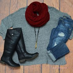 Marled Gray sweater + burgundy scarf + distressed jeans + Black riding boots