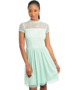 Mint Chiffon & Lace Dress | Glowbees Summer 2014