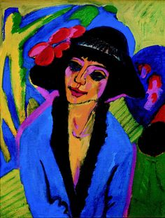 """Ernst Ludwig Kirchner Portrait of Gerda, 1914 Kirchner was a German expressionist painter and printmaker and one of the founders of the artists group Die Brücke or """"The Bridge"""", a key group leading to the foundation of Expressionism in art. Ernst Ludwig Kirchner, Expressionist Portraits, German Expressionism Art, Henri Matisse, Art Plastique, Figurative Art, Painting & Drawing, Painting Styles, Art History"""