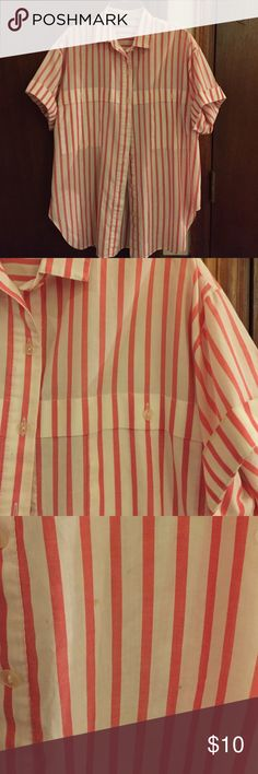 Striped Button Down Blouse Basic button down top, white and salmon colored, super cute with denim shorts or distressed jeans ❣️ has a couple unnoticeable spots shown in picture Tops Button Down Shirts