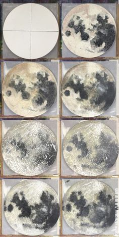 Moon painting tutorial - using Acrylic Paint and sponge and splattering techniques - for nursery or wall art or classroom