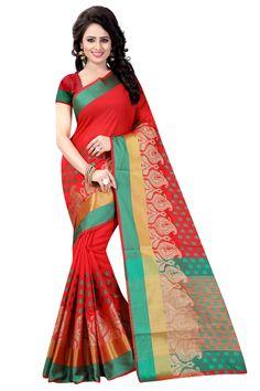3e9ece803 Red color Resham border silk saree with Blouse Piece Art Silk Sarees