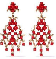 Valentino Valentino Woman Gold-tone Enamel Clip Earrings Red Size eXHMTsO1ei