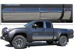 """QAA PART TH16172 fits TACOMA 2016-2017 TOYOTA (6 Pc: SS Rocker Panel Body Accent Trim, 8"""" - 8.375"""" tapered width - Full Kit: Bottom of the molding to the bottom of the door, Access Cab, 6' Bed) TH16172"""
