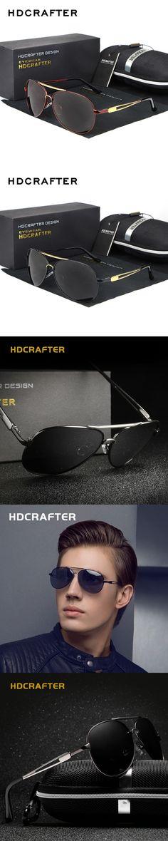 2016 HDCRAFTER Metal Aviator Sunglasses HD Polarized Eyewear For Asual Brand Designer Gafas De Sol With Case