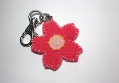 Hand-stitched Felt Flower Keychain