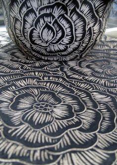 Sara Meehan, scrafitto over porcelain