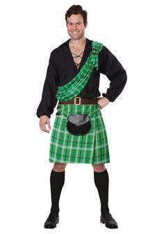 Mens Scottish Highlander Kilt Hat Sash Halloween Heritage Adult Sized Costume